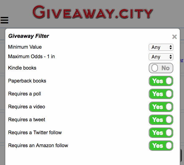 Giveaway Filter